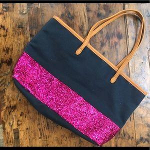 Denim and hot pink sparkly bag